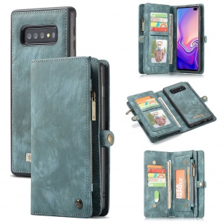 Handy Tasche für Samsung Galaxy S10 Plus G975F CaseMe Geldbeutel + Etui Blau