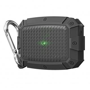 Für AirPods Pro Shield Armor Wasserdichte Schutzhülle mit Karabiner Haken Grau