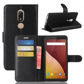 Tasche Wallet Premium Schwarz für Wiko View Prime Hülle Case Cover Etui Schutz