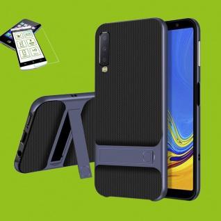 Für Samsung Galaxy A7 A750F Standing Tasche Outdoor Etuis Hülle Blau + H9 Glas