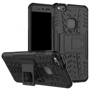 New Hybrid Case 2teilig Outdoor Schwarz für Huawei P10 Lite Tasche Hülle Cover