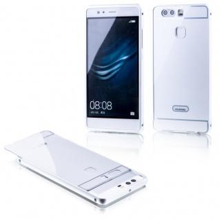 Alu Bumper 2 teilig mit Abdeckung Silber für Huawei P9 Tasche Hülle Case Etui