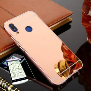Alu Bumper 2 teilig Pink + 0, 3 H9 Glas für Huawei P20 Tasche Hülle Case Cover