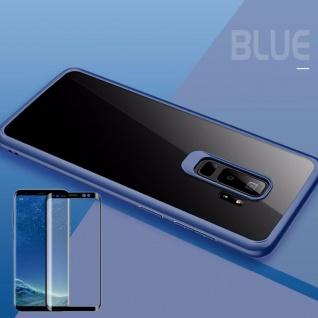 Für Samsung Galaxy S9 Plus Original ROCK Silikon Tasche Hülle Blau + 4D H9 Glas