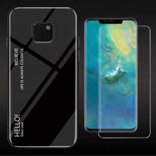 Für Huawei Mate 20 Pro Color Effekt Cover Schwarz Tasche Hülle + 4D Curved Glas