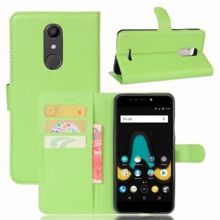 Tasche Wallet Premium Grün für Wiko Upulse Hülle Case Cover Etui Schutz Zubehör