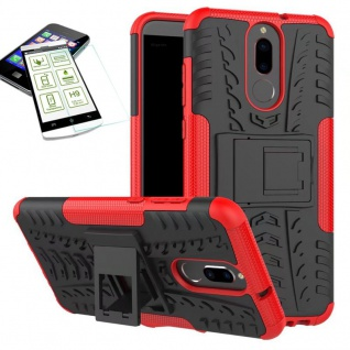 Hybrid Case Tasche Outdoor 2teilig Rot für Huawei Mate 10 Lite Hülle Hartglas