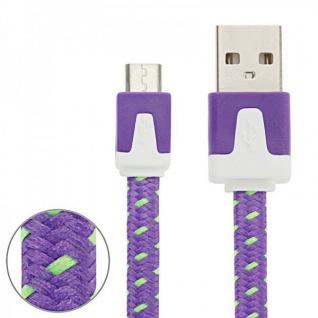 2m USB Daten und Ladekabel Lila für alle Smartphone und Tablet Micro USB Zubehör