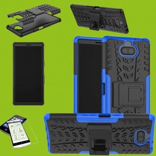 Für Sony Xperia 10 Hybrid Case 2 teilig Blau Hülle + 0, 3 mm H9 Glas Tasche Etuis