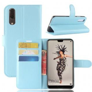 Tasche Wallet Premium Blau für Huawei P20 Hülle Case Cover Schutz Etui Schale