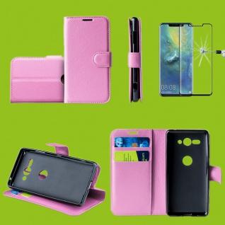 Für Huawei P30 Pro Tasche Wallet Rosa Hülle Etuis + H9 4D Curved Hart Glas Case
