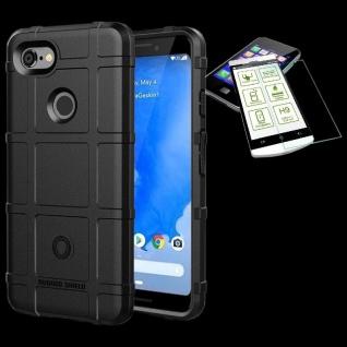 Für Google Pixel 3 XL Tasche Shield TPU Silikon Hülle Schwarz + 0, 26 H9 Glas Neu