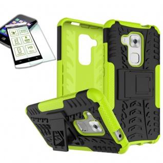 Hybrid Case Tasche Outdoor 2teilig Grün für Huawei Nova Plus + Hartglas Cover