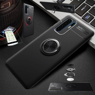Für Huawei P30 Lite Dünn Magnet Metall Ring Tasche Hülle Schwarz + H9 Glas Etuis
