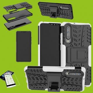 Für Huawei P30 Hybrid Tasche Cover Outdoor 2teilig Weiß Etui Hülle + H9 Glas Neu