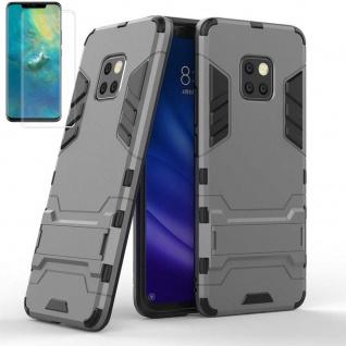Für Huawei Mate 20 Pro Tasche Metal Style Hybrid Hülle Grau + 4D Curved Glas Neu