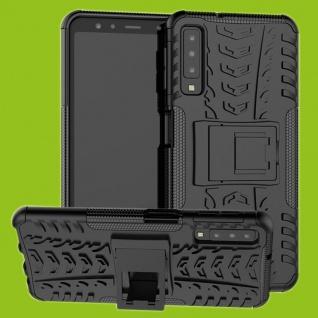 Für Samsung Galaxy A7 A750F Hybrid Case 2teilig Outdoor Schwarz Tasche Hülle Neu