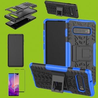 Hybrid Tasche Etuis Hülle Blau für Samsung Galaxy S10 Plus + 4D H9 Curved Glas