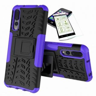 Für Huawei P Smart Plus Hybrid Tasche Outdoor 2teilig Lila Case Hülle + H9 Glas
