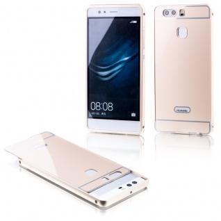 Alu Bumper 2 teilig mit Abdeckung Gold für Huawei P9 Tasche Hülle Case Etui Neu