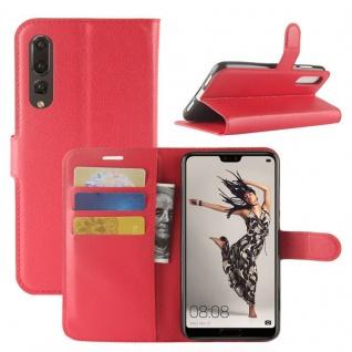 Tasche Wallet Premium Rot für Huawei P20 Pro Hülle Case Cover Schutz Schale Neu