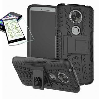 Für Motorola Moto E5 Plus Hybrid Tasche Outdoor 2teilig Schwarz Hülle + H9 Glas