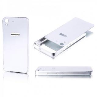 Alu Bumper 2 teilig mit Abdeckung Silber für Huawei Y6 Tasche Hülle Case Cover