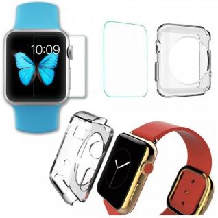 Tempered Hartglas H9 + Silikon Hülle Transparent für Apple Watch 42mm Case Neu