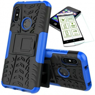 Für Xiaomi MI A2 Lite Hybrid Tasche Outdoor 2teilig Blau Hülle + 0, 3 H9 Glas Neu