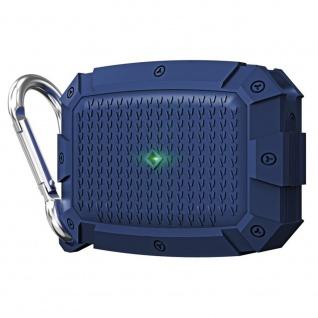 Für AirPods Pro Shield Armor Wasserdichte Schutzhülle mit Karabiner Haken Blau