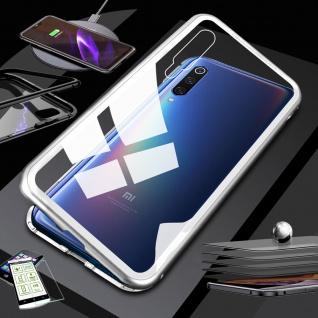 Für Xiaomi Mi 9 Lite Magnet Handy Tasche Hülle Silber / Transparent + H9 Glas