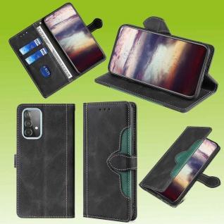 Für Samsung Galaxy A52 5G Design Handy Tasche Schwarz Etuis Kunst-Leder Hülle