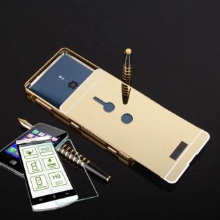 Alu Bumper 2 teilig Gold + 0, 3 H9 Glas für Sony Xperia XZ2 Cover Tasche Hülle