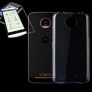 Silikoncase Transparent Tasche + H9 Hartglas für Motorola Moto C Plus Hülle
