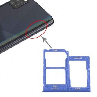 Dual Sim Karten Halter für Samsung Galaxy A41 Blau Card Tray Micro SD Ersatzteil