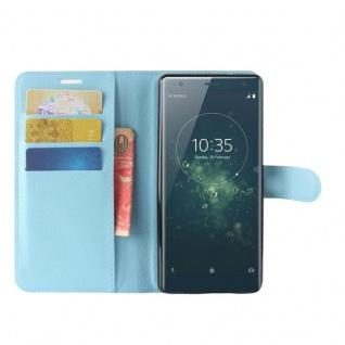 Tasche Wallet Premium Blau für Sony Xperia XZ2 Hülle Case Cover Schutz Etui Neu - Vorschau 5