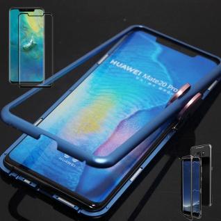 Für Huawei Mate 20 Pro Magnet Glas Tasche Blau / Transparent + 0, 3 mm 4D H9 Glas
