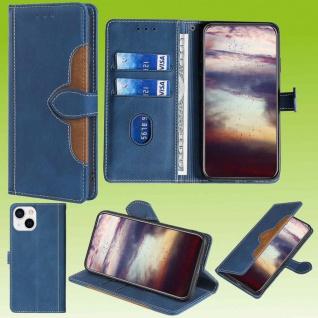 Für Apple iPhone 13 Design Handy Tasche Blau Etuis Schutz Kunst-Leder Hülle Neu