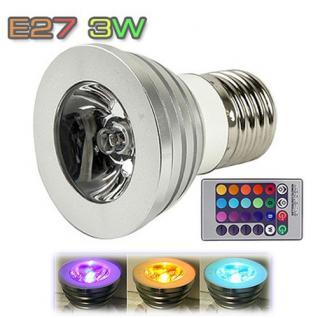 3W E27 RGB LED Lampe Spot Licht Farbwechsel 16 Farbe mit Fernbedienung NEU TOP
