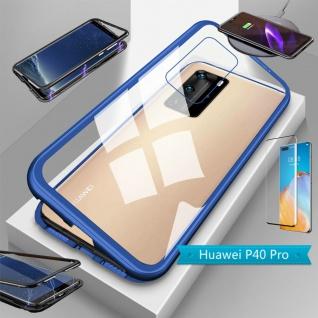 Für Huawei P40 Pro Magnet Handy Tasche Hülle Blau / Transparent + 4D H9 Glas Neu