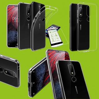 Silikoncase Transparent Tasche + 0, 26 H9 Hartglas für Nokia 3.1 Plus 6, 0 Hülle