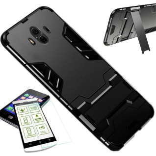 Für Huawei Mate 20 Lite Tasche Metal Style Hybrid Case Hülle Schwarz + H9 Glas