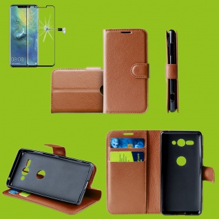 Für Huawei P30 Pro Tasche Wallet Braun Hülle Etuis + H9 4D Curved Hart Glas Case