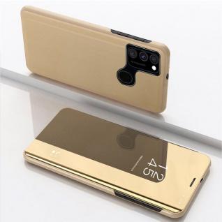 Für Samsung Galaxy A21s View Smart Cover Hülle Gold Handy Tasche Etuis Wake UP