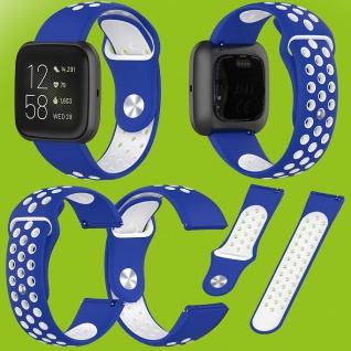 Für Fitbit Versa 2 Kunststoff Silikon Armband für Frauen Größe S Blau-Weiß Neu