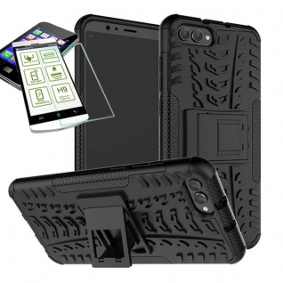 Für Huawei Honor 10 Hybrid Case Tasche Outdoor 2teilig Schwarz + H9 Glas Hülle