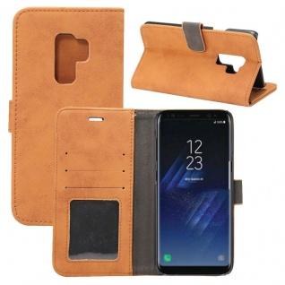 Deluxe Retro Tasche Wallet Braun für Samsung Galaxy S9 Plus G965F Hülle Case Neu