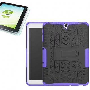 Hybrid Outdoor Tasche Lila für Samsung Galaxy Tab S3 9.7 T820 + 0, 4 Hartglas