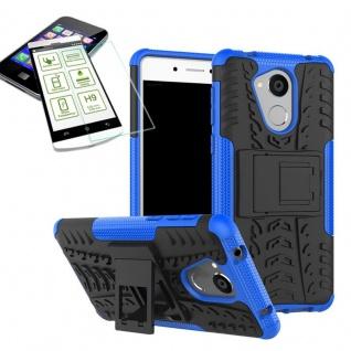 Hybrid Case Tasche Outdoor 2teilig Blau für Huawei Honor 6C Hülle Hartglas Neu