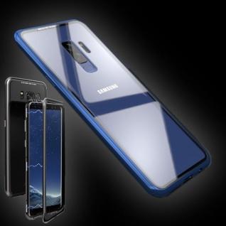 Für Samsung Galaxy S9 Plus Magnet / Metall / Glas Transparent / Blau Tasche Neu